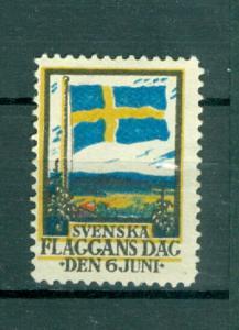 Sweden Poster Stamp MNG. 1918  National Day June 6. Swedish Flag.