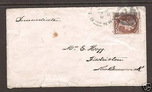 Canada Sc 37 used on 1875 Unrecorded Fancy Cancel Cover