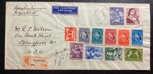 1946 Harmelen Netherlands Airmail Registered Cover to Springfield MA USA