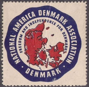 NATIONAL AMERICA DENMARK ASSOCIATION LABEL WWII against Nazism BETTER SEAL! flaw