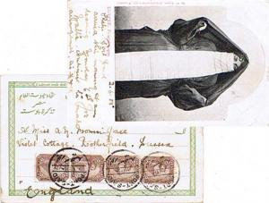 Egypt 1m Sphinx and Pyramid (4) 1905 Port-Said PPC (Egypte: Femme copte) to R...