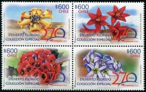 HERRICKSTAMP NEW ISSUES CHILE Sc.# 1654 Desert Flowers Block