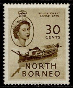 NORTH BORNEO QEII SG381, 30c olive-brown, M MINT.