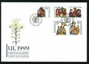 Sweden.  FDC 1999 Cachet.  Christmas Stamps. Engraver: E. Morck.