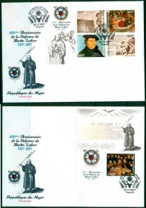 Reformation 500 Martin Luther Protestantism Niger imperforated FDC cover set