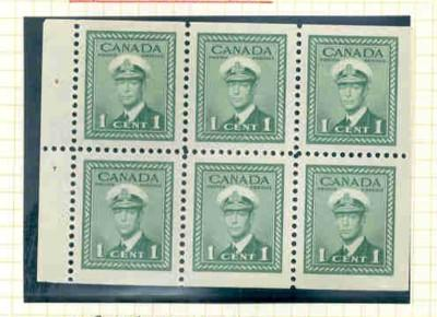 Canada Sc 249b 1942 1c G VI stamp booklet pane of 6 mint NH