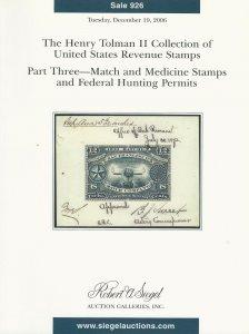 Match & Medicine & Duck Stamps, Robert A. Siegel, Sale #926, December 19, 2006