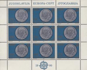 Yugoslavia 1980 EUROPA Marshal Tito Sheets of 9. Artwork  VF/NH/(**)