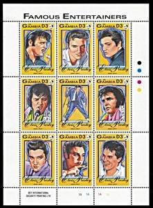 Gambia #1397 ms/sheet of 9 F-VF Mint NH ** Elvis Presley