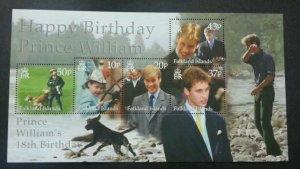 *FREE SHIP Falkland Islands Prince 18th Birthday 2000 Royal (ms) MNH