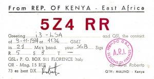8841 Amateur Radio QSL Card  KENYA EAST AFRICA