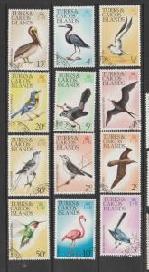 Turks caicos 1973 Bird defs FU to 50c ( No 8c ) VFU SG 381-7/389/393