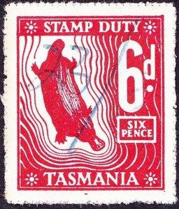 TASMANIA 6d Red Stamp Duty Revenue Stamp FU
