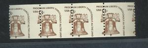 U.S. #1618 MINT Misperfed Strip of 4 VF NH
