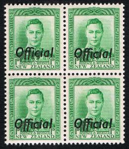 NZ - Sc# O88 Official Overprint 1D 1938 Green KG VI = MINT 2x2 Pane VF NH OG
