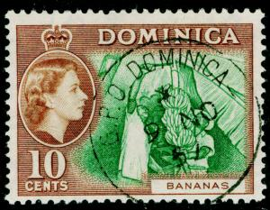 DOMINICA SG150, 10c green & brown, FINE USED, CDS.