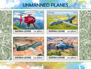 Z08 IMPERF SRL17710a SIERRA LEONE 2017 Unmanned planes MNH ** Postfrisch