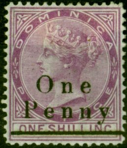 Dominica 1886 1d on 1s Magenta SG19 Fine Mtd Mint Stamp