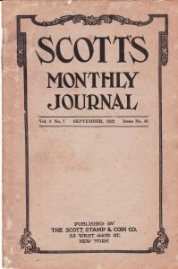 Scott's Monthly Journal September 1923 Stamp Collecting Magazine