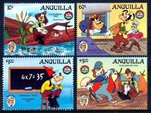 ANGUILLA - 1985 - DISNEY - GOOFY - HUCKLEBERRY FINN - MARK TWAIN + MINT MNH SET!