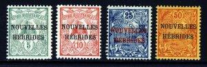 NEW HEBRIDES 1908 NOUVELLES HEBRIDES Ovpts on NEW CALEDONIA SG F1 to SG F4 MINT