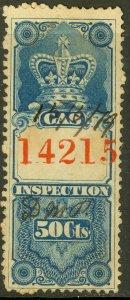 CANADA 1875 50c GAS INSPECTION REVENUE VDM. FG2 F-VF USED