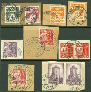 EDW1949SELL : FAROE ISLANDS 11 VF Danish stamps on pieces w/Scarce Faroe cancels