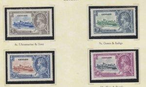 CEYLON, 1935 Silver Jubilee set of 4, heavy hinged, spots on 9c.