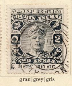Cochin 1918-22 Early Issue Fine Used 2a. 322445
