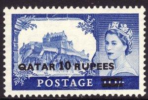 1957 Qatar QE Queen Elizabeth O/P 10 rupee on 10/ MNH Sc# 15 CV: $8.50