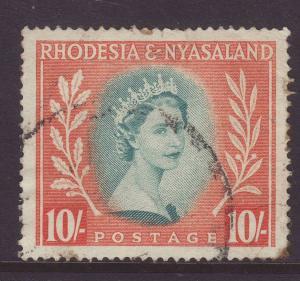 1954 Rhodesia & Nyasaland 10/- Used SG14