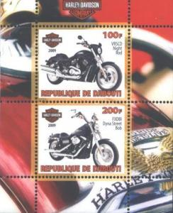 Djibouti 2009 Transport Motorcyles Harley Davidson Motorbike M/S Stamps MNH (2)