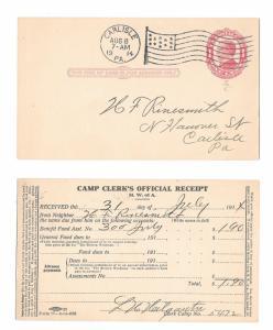 US UX24 Postal Stationery Card M.W.of A. Receipt Carlisle PA Flag Cancel 1914