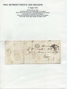 FRANCE Early LETTER/COVER 1843 fine used item Lille - Liege