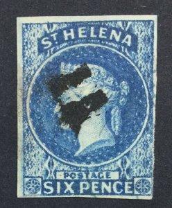 MOMEN: ST HELENA SG #1 IMPERF 1856 USED £200 LOT #225508-5179