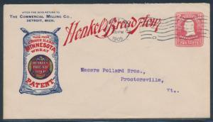 1905 2¢ ENTIRE DETROIT,MI CDS ON ADVT CVR HENKELS BREAD FLOUR VF+ BR4068 HSAM
