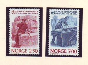 Norway Sc 890-1 1986 Craftsmen stamp set mint NH