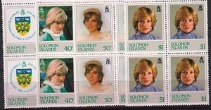 SOLOMON IS 1982 Princess Diana set blocks of 4 MNH.........................63456