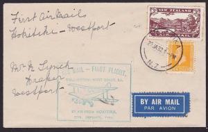 NEW ZEALAND 1932 West Coast survey flight cover Hokitika to Westport........2328