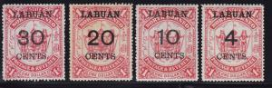 Labuan Scott # 58 - 61 set VF OG mint previously hinged cv $ 83 ! see pic !