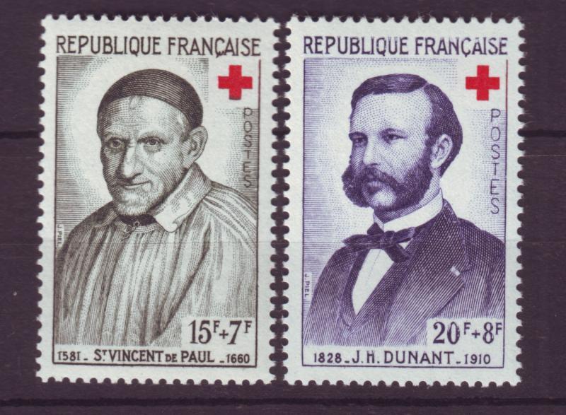 J19509 Jlstamps france 1958 set mnh #b327-8 red cross