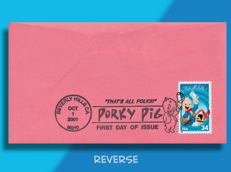 Th-Th-That's All, Folks! Handcolored Porky on FDC for Final Looney Tunes stamp!
