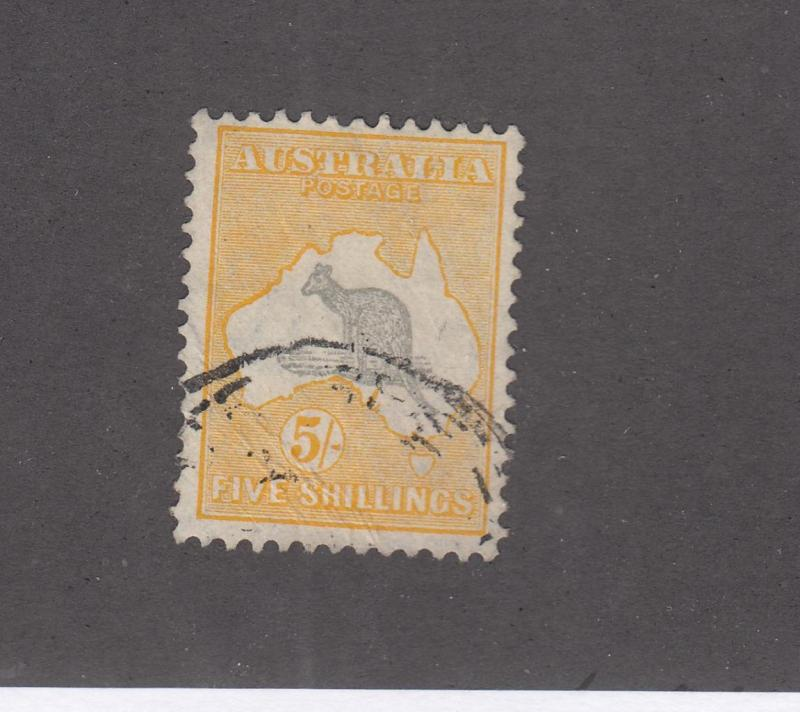 AUSTRALIA # 54 VF-5sh KANGAROO LIGHTLY USED CAT VALUE $125