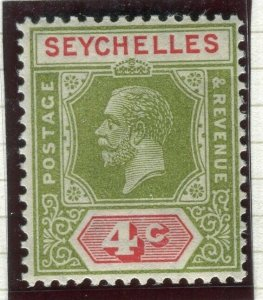 SEYCHELLES; 1922 early GV issue fine Mint hinged Shade of 4c. value