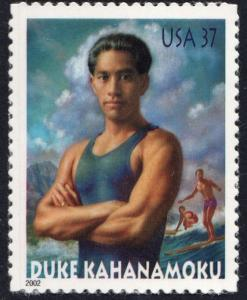 SC#3660 37¢ Duke Kahanamoku Single (2002) SA