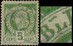 HAÏTI - 1882 Mi.10 5c LIBERTY variety Broken Leg in L used blue Ship Cancel