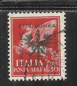 GERMAN LUBIANA 1944 TEDESCA POSTA AEREA AIR MAIL LIRE 10 USATO USED OBLITERE'