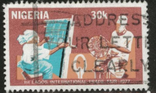 Nigeria Scott 354 1977 used trade fair stamp