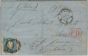 55873 - PORTUGAL - POSTAL HISTORY: AFINSA #44 d 12 1/2 on COVER to ITALY  1874