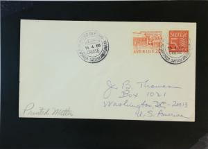 Sweden 1966 Paqueot Cover to USA - Z2136